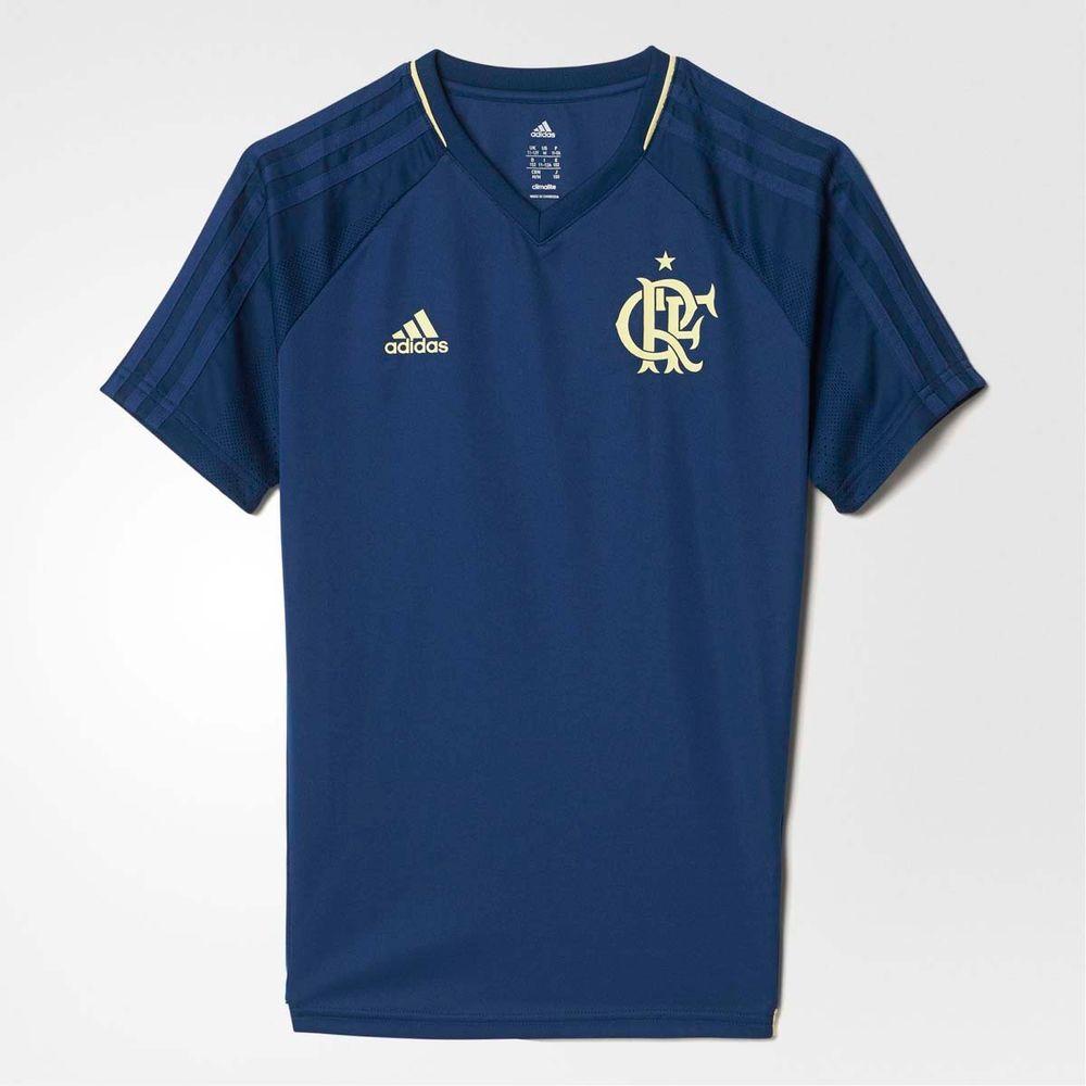 10b0f351ad684 Camisa Infantil Flamengo Treino Azul Adidas 2017 - flamengo