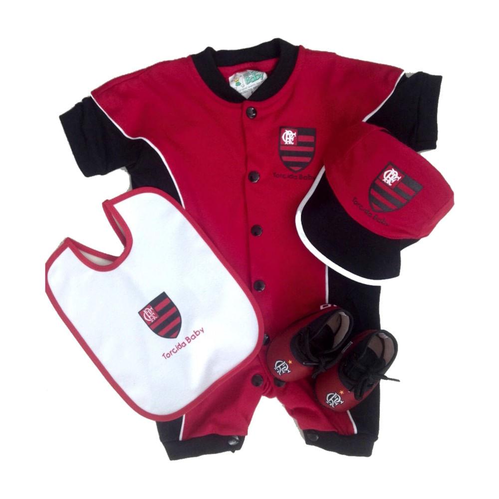 Kit Flamengo 4 Peças Curto Vermelho Torcida Baby - flamengo c842917ba608a