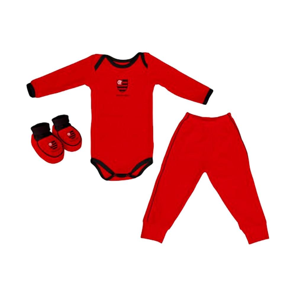 7cfb4f2c497e52 Kit Flamengo 3 Peças Body Manga Longa Torcida Baby