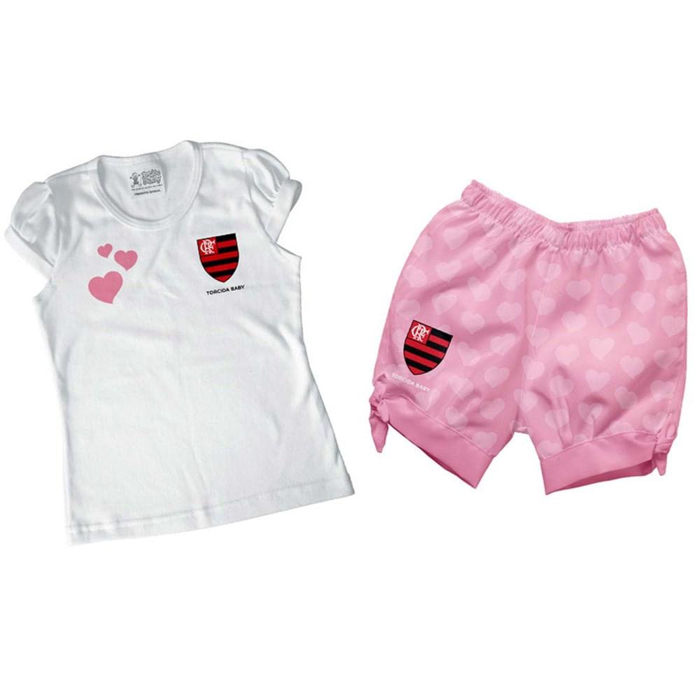 Conjunto Infantil Flamengo Rosa II Menina - flamengo 2181fbc5933bf