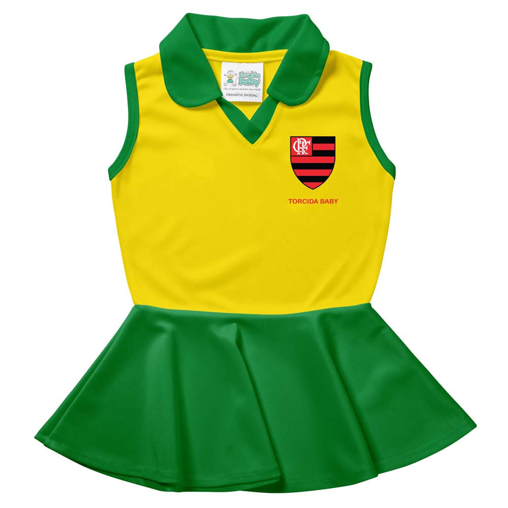 78303c8669 Vestido Polo Flamengo Infantil Brasil Times Torcida Baby - flamengo